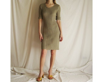 90s Taupe Ribbed Knit Dress S M