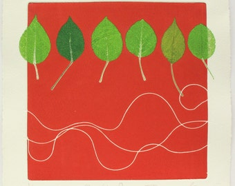 Red and green leaf mono print. Plymouth Pear. By Lynn Bailey