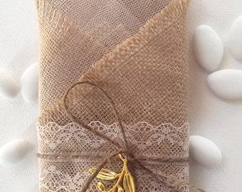 Burlap wedding favor/bomboniere with olive leaf