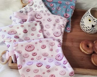 Donut Mini Taggie Blanket. Wooden Teether. Lovey Blanket. Baby Gift. READY to SHIP