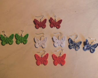 """Earrings lace pattern """"Butterfly"""" mixed colors."""