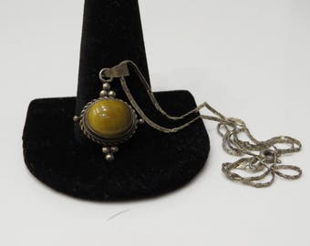 Dainty Vintage Sterling Silver Tigers Eye Necklace