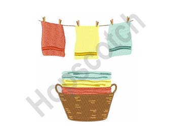 Basket And Clothes In Line - Machine Embroidery Design