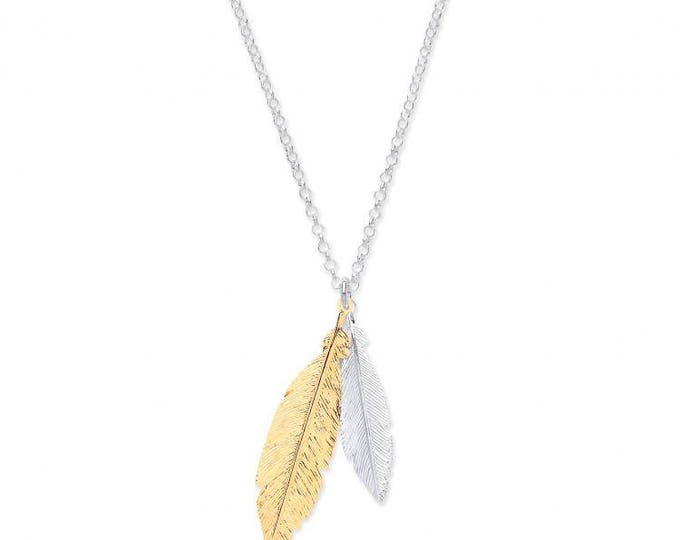 "Sterling Silver & Yellow Gold Plated Feathers on Adjustable 16""/18"" Chain"