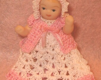 Dollhouse Miniature Baby Dress and Bonnet Victorian Style Ooak