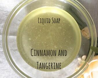 Liquid Soap, Cinnamon and Tangerine, Essential Oil soap, Castile Soap, Olive Oil Soap, Body Wash, Biodegradable, Hand Soap, Camping Soap
