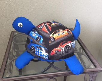 Race Car Handmade Stuffed Turtle