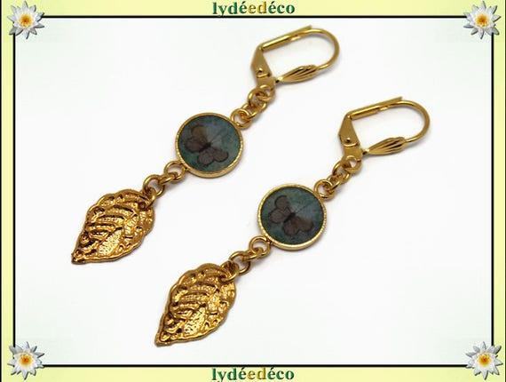 Earrings Butterfly Golden brass gold 24 carat 24 k leaf green brown tree resin