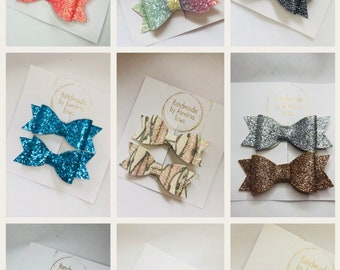Gliter bows *CHOOSE YOUR COLOUR* Girls glitter set of 2 hair bows