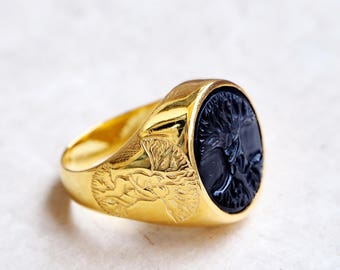 Tree Of Life Ring Black Onyx Handmade Regnas In Gold Plated Sterling Silver 925