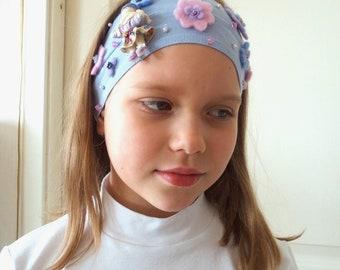 Girl Headband Birthday Handmade Flower Doll Headband Girl Gift Baby Bandage Blue Stretch Headband Girl 1-2-3-4-5-6-7 years old Free Shipping