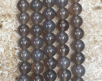"Agate Beads - Smooth Round Grey Agate Beads - 8mm round, FULL 16"" strand (about 49 beads) - G886"