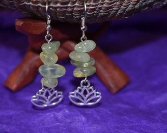 Prehnite and lotus earrings