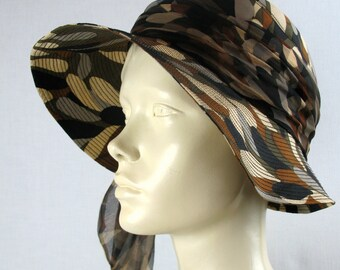 60s Floppy Hat by Gina Davies with Matching Silk Scarf 22