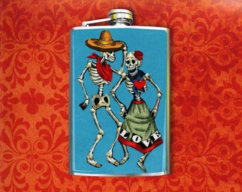 Flask 8oz Dancing Skeletons #209