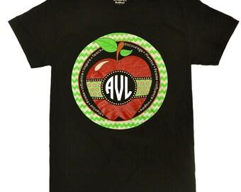 Tees2urdoor Teacher Red Glitter Apple Monogram Black T-Shirt