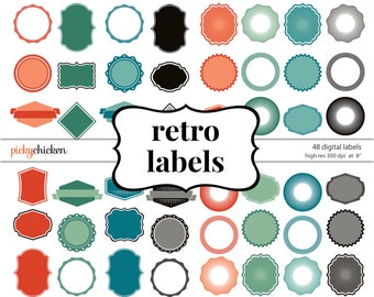 Retro Digital Tags - 48 Labels clip art digital frames scalloped round clipart printable Instant Download 5015