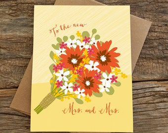 gay wedding card / mrs and mrs / bouquet