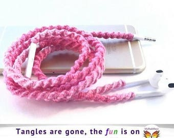 iPhone Gifts Wrapped Headphones for Apple iPhone 7 iPhone 6 Lightning EarPods Macrame Wrapped No Tangle Free Earbuds Gift for Her