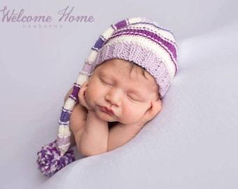 Baby Girl Hat Gift/ Newborn Baby Girl Gift/ Newborn Infant Hat/ Grand Baby Gift/ Baby Shower Gift/ Knit Purple Baby Hat/ Baby Hat Lavender