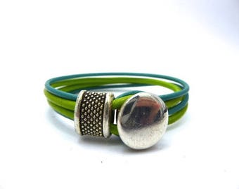 Lime and spring green leather bracelet 4 rows