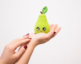 Green Crochet Pear baby toy , Kawai Plush eco-friendly play food toy, baby shower gift, amigurumi fruit kitchen decor
