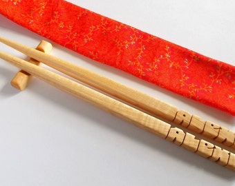 Chopsticks in Maple Wood, Personalized, Custom Carved to Order