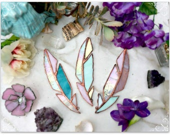 Set of three Stained Glass Enchanted Feathers!! Feathers, Glass feathers, Stained glass, wall hanging, wall decor, boho, gifts for her, cool