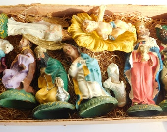 """Antique Vintage Italy Composite Nativity Set 11 PC Set Hand Painted Crafted 3 1/2"""" - 4"""""""