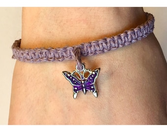 Handmade Adjustable Lavender Hemp Purple Butterfly Charm Bracelet