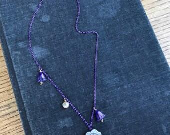 Art Nouveau style necklace. Alphonse Mucha fine art, mixed media jewelry. Stocking stuffer series