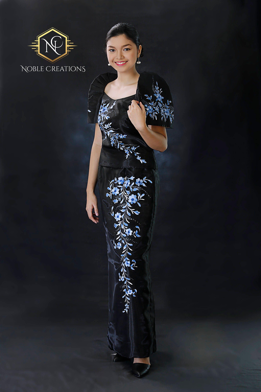 FILIPINIANA DRESS Handpainted Mestiza Gown - Black