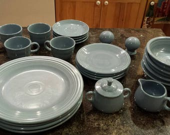 Vintage 25 Pieces of Genuine Homer-Laughlin FiestaWare in Pastel Blue. No chips or cracks. Free Shipping in the U.S.A.  A Great Gift Idea.