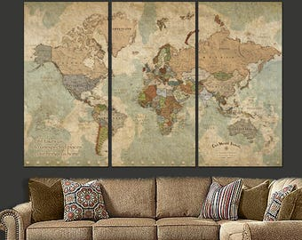 Push Pin Travel Map of World, World Map Canvas Wall art, Push Pin Map,  World Travel Map, Large Wall art, Mothers Day Gift,