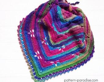 Crochet Pattern for Shawl/Wrap, Dragonfly Bandana Cowl, PDF 16-F