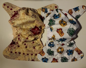 SassyCloth one size pocket diaper with wizard school cotton print. Made to order.