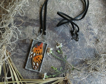 Butterfly Wing Necklace, Ethically Sourced from the shores of the Gulf of Mexico, Gulf Fritillary Butterfly, Silver Solder Jewelry