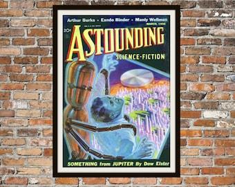 Sci Fi Print Poster, Astonishing Stories Vintage Magazine Print, Vintage Print, Dime Magazine, Magazine Science Fiction Art Item 0204