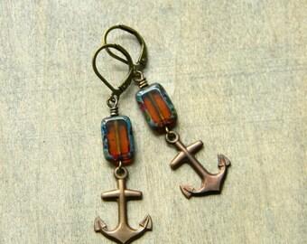 Anchor earrings fall earrings sailing style amber glass earrings dangle earrings nautical earrings brass anchor jewelry beach jewelry
