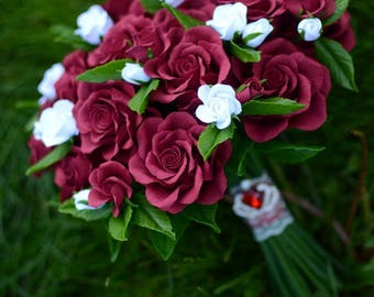 Wedding Maroon Burgundy Claret Roses Wedding Bouquet Clay flowers bouquet bridal bouquet Alternative Wedding bouquet Keepsake bouquet