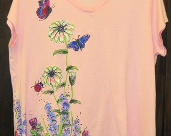 Wildflowers Tshirt for Women and Plus Sizes Handpainted