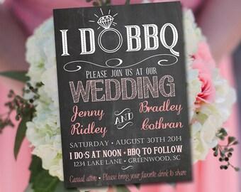 I DO BBQ Wedding Invitation Template Download - Chalkboard Invitation Blush Pink 5x7 Wedding Printable - Rustic Wedding Download