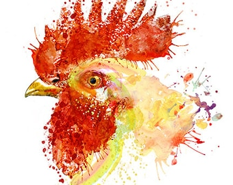 Rooster Head, Printable, Watercolor portrait, Rooster wall, Kitchen decor, Bird art, Farm, Wall art, Kitchen art, Watercolor painting, Birds