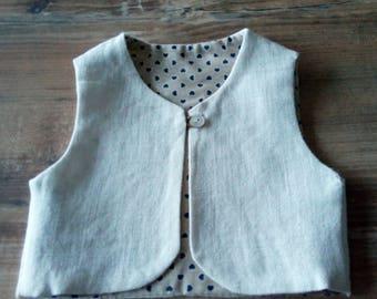 Shepherd linen vest beige double hearts