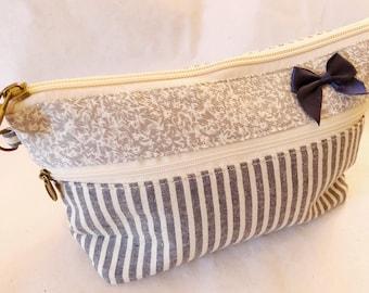 organic cotton make-up bag - makeup bag striped - zipper pouch cotton - makeup pouch cotton - cosmetic bag cotton - makeup bag floral -gray