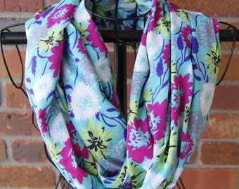 Multi Color Floral Infinity Scarf