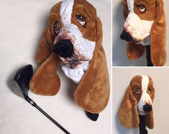 GOLF club head cover , Basset hound , Custom Dog portrait , GOLF GIFT