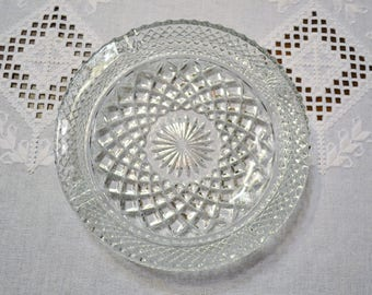Vintage Clear Glass Ashtray Diamond and Star Design Pressed Glass Bowl Dish Smoking Accessory Panchosporch