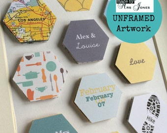 Personalised art - hexagon art - personalised gift - wedding gift - unframed art - birthday gift - gift for him - gifts for couple - beehive