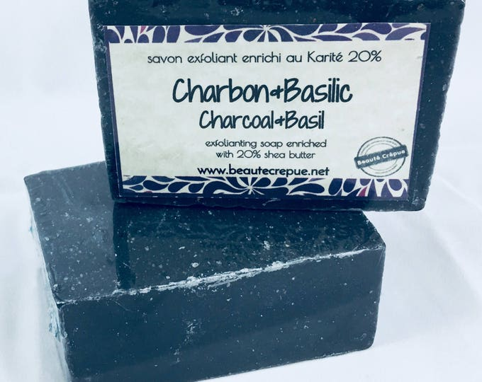 Charcoal & Basil - Activated Charcoal Scrub and Basil Essential Oil  Soap - 195g